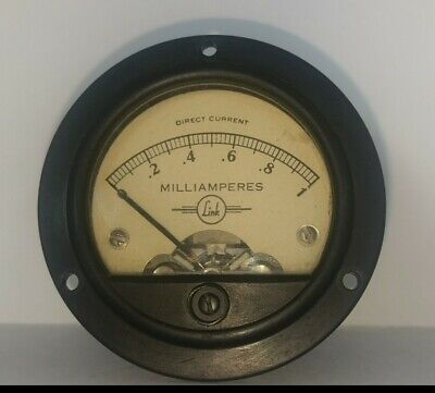 Beautiful Early 1960s Link Panel Ammeter 0 - 1 Ma From Us Military Uhf Amp