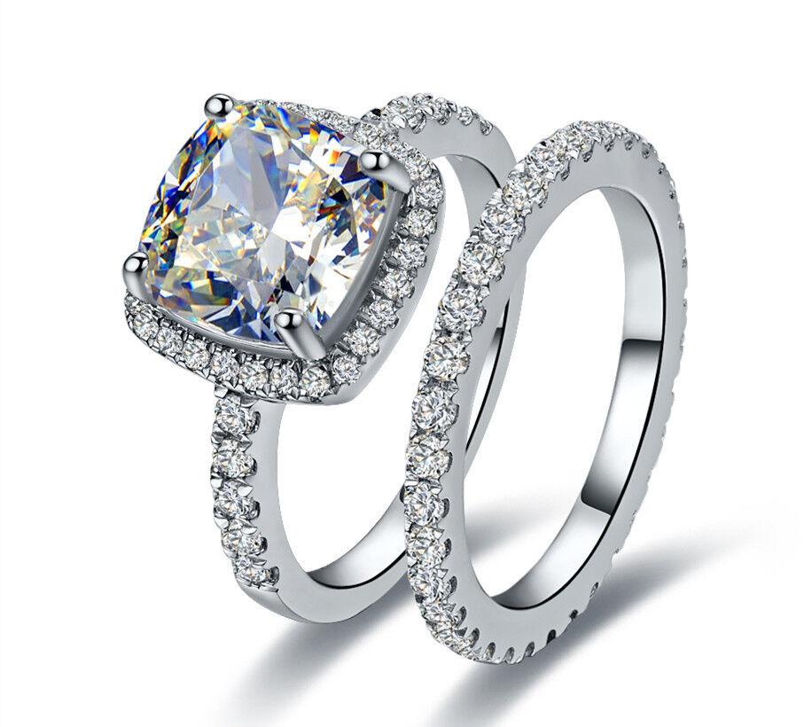 Princess Cut Diamond Ring Classic Halo Style Cushion Shape Women Wedding Ring