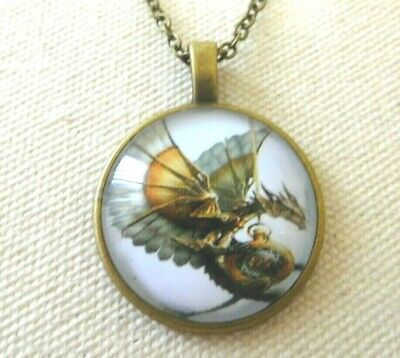 Necklace Dragon Pendant Cabochon Glass Bronze Tone Chain US Seller Stock