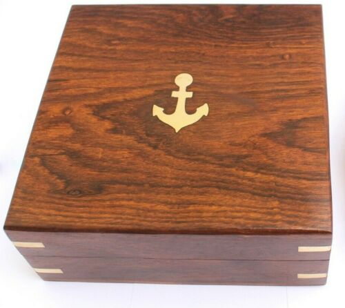 "Wooden Box with Brass Anchor 5.5"" x 5.5"" x 2.25"""