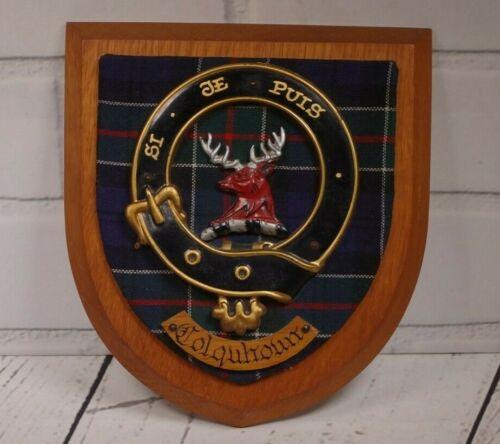 Vintage Authentic Scottish Crest Colquhoun Clan Wooden Wall Plaque Coat of Arms