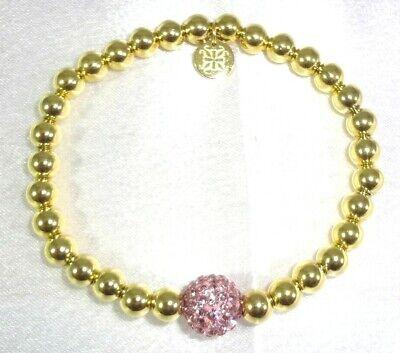 "RUSTIC CUFF ""IRELAND"" Single Pink Shamballa RC Logo Dangle Stretchy Bracelet!"