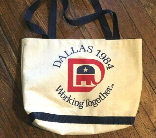 Rare 1984 REPUBLICAN CONVENTION DALLAS TEXAS BAG Ronald Reagan VTG George Bush