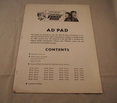 The One and Only, Genuine, Original Family Band 1968 Walt Disney AD Pad Press
