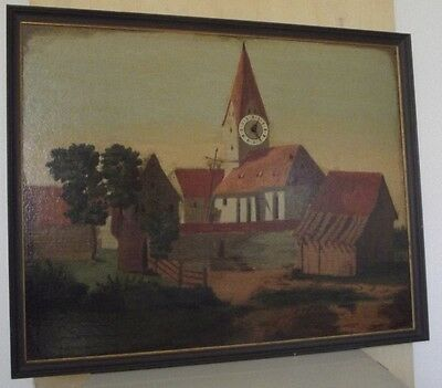 Uhrenbild mit alter Dorfkirche