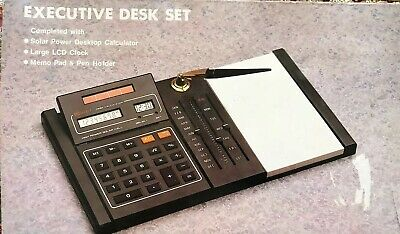 Vintage Executive Desk Set With Solar Calculator Clock Pen Memo Holder Nib