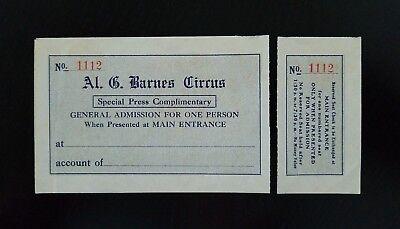 "Vintage ~ Al. G. Barnes Circus ""Special Press Complimentary"" Ticket (Detached)"