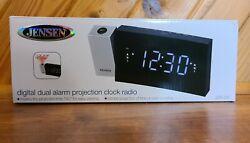 JENSEN JCR-238 Digital Dual Alarm Projection Clock Radio Compact Tested Perfect