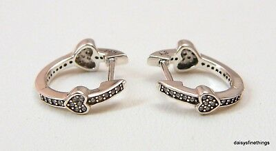 735d7ad0d NEW/TAGS AUTHENTIC PANDORA EARRINGS ALLURING HEARTS HOOPS #297290CZ HINGED  BOX