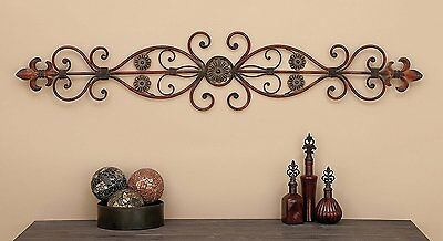 Decorative Iron - Large Decorative Rustic Scrolling Wrought Iron Wall Grille Art Panel Home Decor