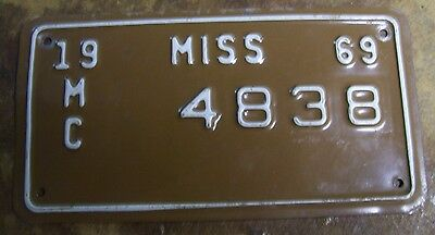 Vintage 1969 Mississippi Motorcycle License Plate Tag Rare Antique