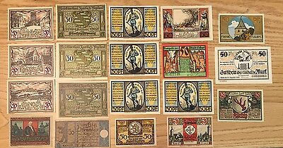 50 Pfennig German Notgeld Notes. Set Of 19 Notes