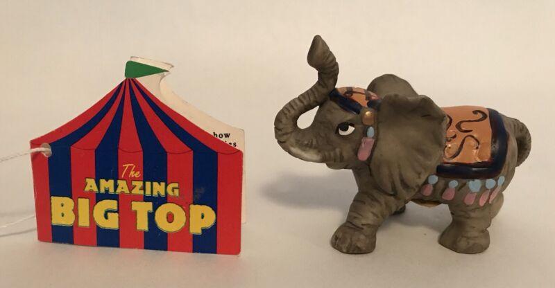 "Papel Giftware The Amazing Big Top Elephant Figurine w/ Hangtag Circus 2"" W14"