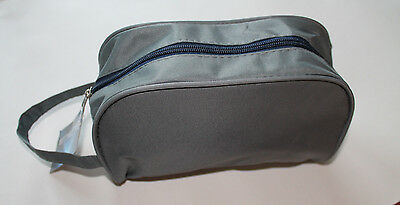 Quality Mens Large Travel Toiletries Cosmetic Shaving Wash Bag Case New GREY