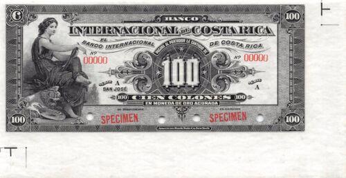 Costa Rica 100 Colones 1.11.1914  P 164s Series A Specimen Uncirculated Banknote