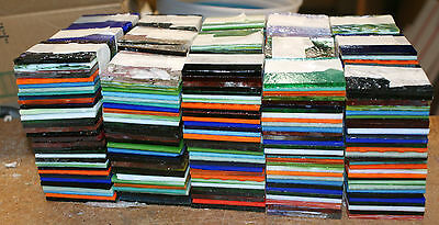 "90 pcs 4+ lbs not scrap STAINED GLASS 2""- 2"" SQUARES mostly UROBOROS hr mosaics"