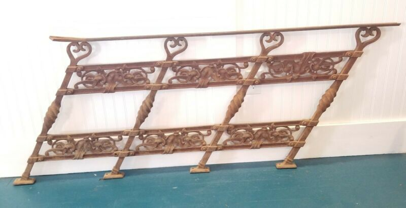 Architectural Salvage Vtg Antique Heavy Iron Step Railing Art Nouvea Ornate