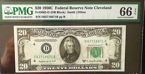 1950 C $20 Federal Reserve Note Cleveland PMG 66 EPQ