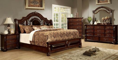 Traditional Bedroom 4pc Set Brown Cherry Cal King Bed Dresser Mirror Nightstand