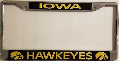 IOWA HAWKEYES LASER CUT INLAID on CHROME METAL LICENSE PLATE FRAME,NCAA Product Iowa Hawkeyes Plate