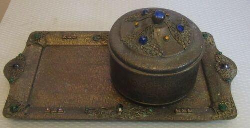 antique chased brass MULTICOLOR JEWELED DRESSER TRAY & POWDER JAR BOX vanity set
