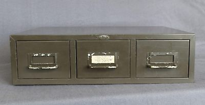 Vintage Industrial Cole Steel 3 Drawer Card File Box Stack-able