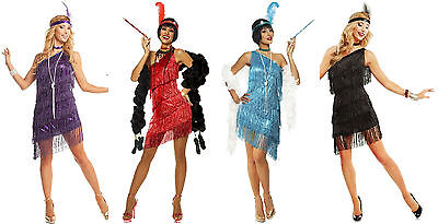 1920S ROARING 20'S ADULT DAZZLING FLAPPER GATSBY COSTUME DRESS BLACK RED PURPLE - Red Flapper Dress Costume