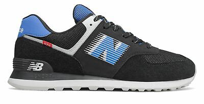 New Balance Men's 574 Shoes Black with Blue