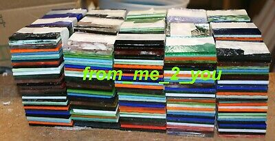 Stained Glass Crafts ( 200+ ONE INCH STAINED ART GLASS SQUARES for MOSAICS CRAFTS  hr lot h)