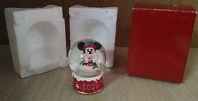 2009 Disney Mickey Mouse Santa Claus Collectible Christmas Snow Globe Tic Toc
