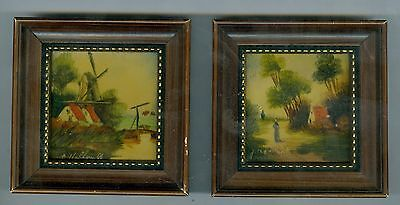 2 Small Vintage Framed Paintings, Holland Artists, 2 ¾ Inches Each