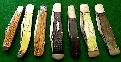 Group #7 of seven old large parts pocket knives - vintage knife
