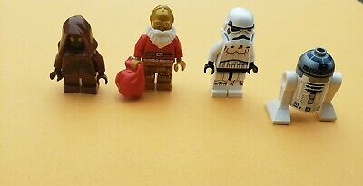 lego star wars (4) minifigures lot christmas c3po - r2d2 - stormtrooper - wawa