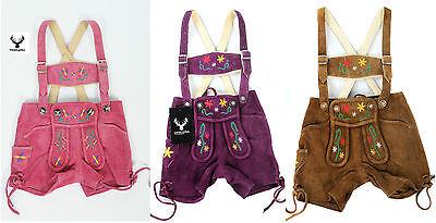 Trachten Lederhose Kinder kurz pink lila camel farbige Stick Größe: 80-128