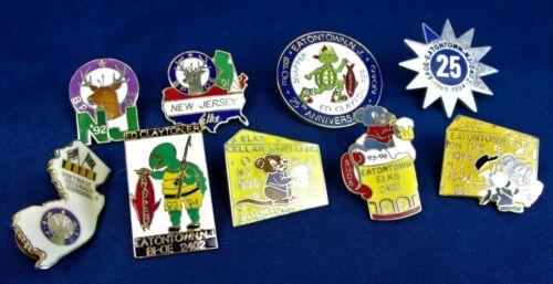 (9) Eatontown, NJ ELKS CLUB Pinback Buttons 1990
