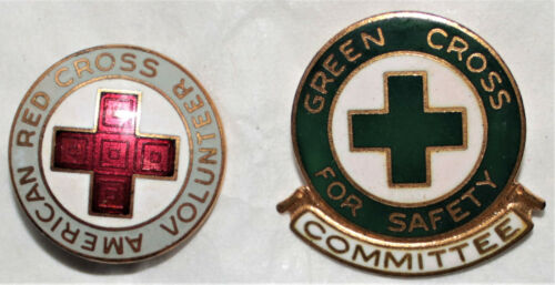 2 Vintage Red Cross Safety Committee & Volunteer Pins Green & Gray Very Good Con