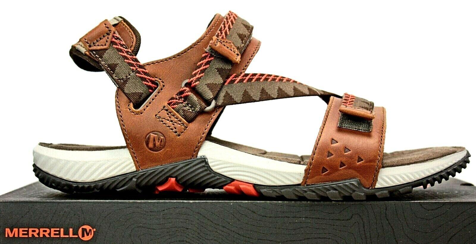 Merrell Mens Sport Sandals Brown Leather Beachcombers FW469 IB