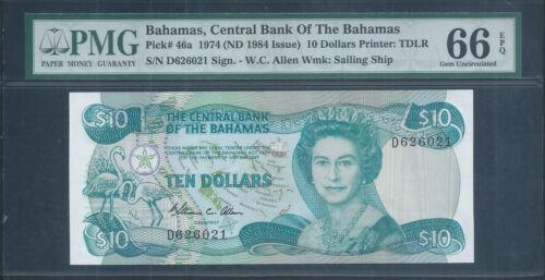 "BAHAMAS $10 P46a ""Allen"" signature 1974 (1984) QEII PMG 66 EPQ Gem Unc"