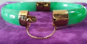 14 k gold and jade bangle