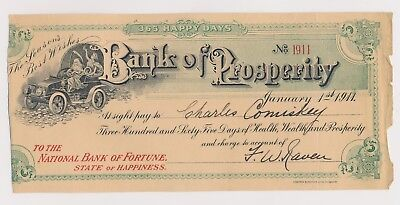 1911 Charles Comiskey  Bank Of Prosperity  Fun Document From Baseball Hof