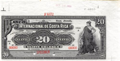 Costa Rica 20 Colones 10.10.1914  P 160s Series A Specimen Uncirculated Banknote