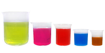 KeL Scientific Graduated Plastic Beaker Set, 50 100 250 500 1000 ml