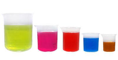 KeL Scientific Graduated Plastic Beaker Set, 50 100 250 500 1000 ml