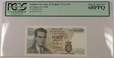 15.6.1964 Belgium 20 Francs Note SCWPM# 138 PCGS 68 PPQ Superb Gem New