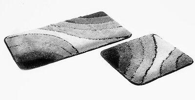 2 teiliges Badematten Set Wave grau