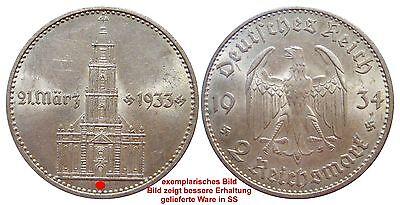 J355 2 Mark DRITTE REICH Garnisonskirche m Datum 1934 D  520005