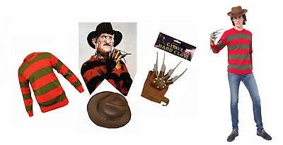 UNISEX KIDS FREDDY KRUEGER HALLOWEEN HORROR FANCY DRESS HAT JUMPER NO GLOVES - Children's Freddy Krueger Halloween Costumes