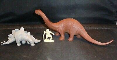 3 Vintage 1970s Dinosaurs / Caveman Plastic Playset  Figures! Very Nice!