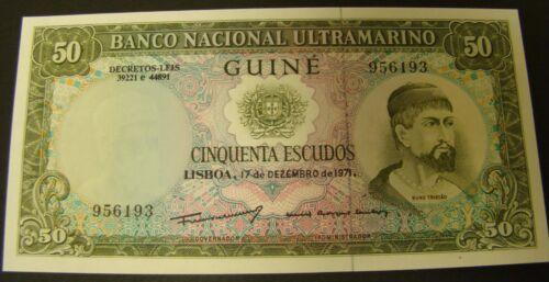 1971 PORTUGUESE GUINEA 50 Escudos Note  Africa Ultramarino UNCIRCULATED Currency