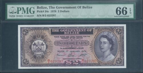 BELIZE $2 P34c 1976 PMG 66 EPQ Gem Uncirculated!